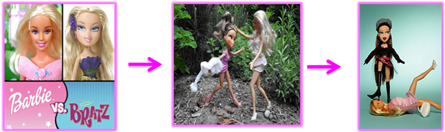Mattel Barbie doll battling MGA Bratz doll