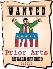 Cartoon Wanted poster for Prior Arts