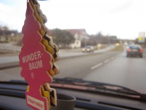 Little Trees Wunderbaum air freshener hanging from rearview mirror