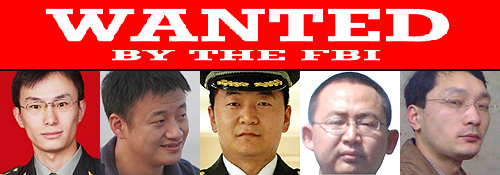 From left, Chinese military officers Gu Chunhui, Huang Zhenyu, Sun Kailiang, Wang Dong, and Wen Xinyu have been indicted on cyber espionage charges